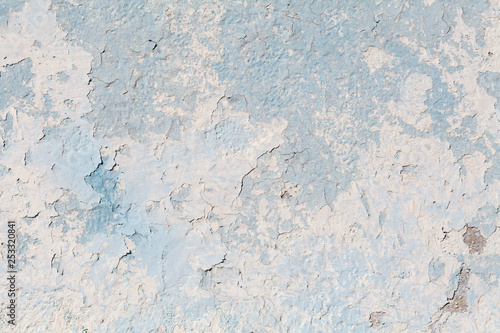 closeup of chipped paint on blue wall , texture ready Fototapet