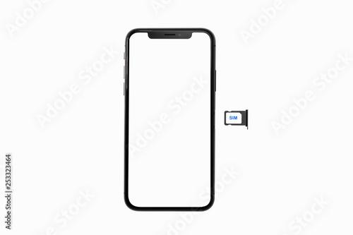 Smartphone and sim card with blank white screen © Voradech Triniti