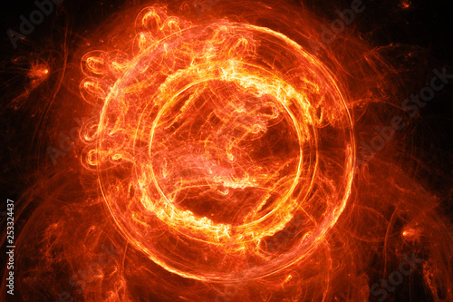 Wall Murals Flame Fiery glowing plasma flame portal