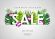 Summer sale background with paper art of tropical, vector illustration template, banners, Wallpaper, invitation, posters, brochure, voucher discount.