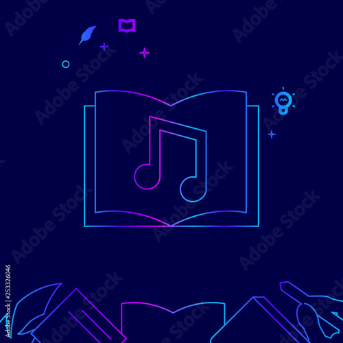 Photo  Audio Book Vector Line Icon, Illustration on a Dark Blue Background