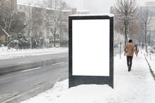 Billboard On Street In Winter