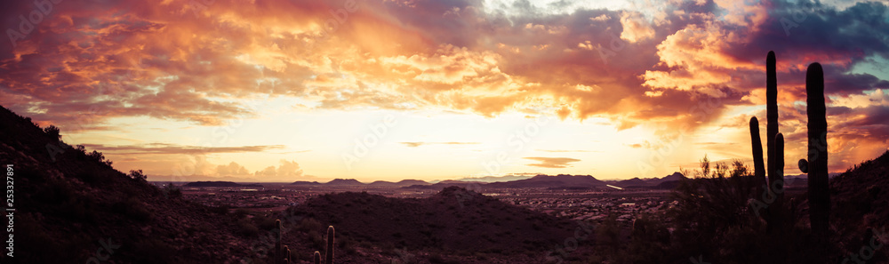 Fototapety, obrazy: A panorama of a dramatic sunset over the desert with saguaro cactus and colorful clouds in the sky.