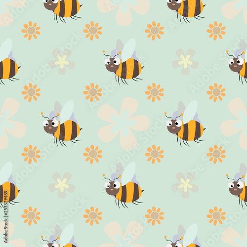 Cotton fabric honey print. Cute cartoon Bee and flower Seamless pattern