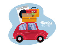 Moving Concept. Red Vintage Car With Suitcases, Washing Machine And Plant On Roof. Flat Cartoon Vector Illustration. Car Side View With Pile Of Furniture On White Background. Moving Home Text