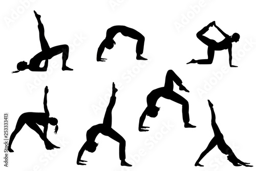 Fotografie, Obraz  collection of yoga female  silhlouette isolated on white background with clippin
