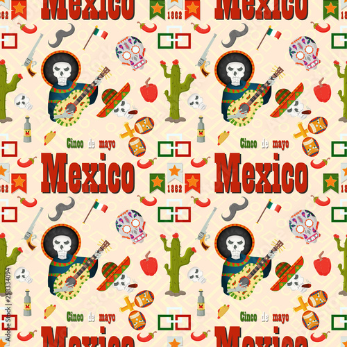 Foto op Canvas Op straat seamless pattern_6_illustration in flat style, the theme of Cinco de mayo celebration, consists of illustrations of Mexican theme