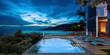 Sea view swimming pool in modern loft design,Luxury ocean Beach house,