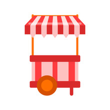 Red Table On Wheels And White Striped Awning Isolated On Background