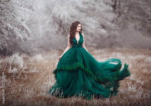 Obraz na plátně  Beautiful long-haired girl in a magnificent emerald fairy dress walks in the winter forest