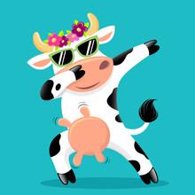 Cute Dabbing Cow In Sunglass