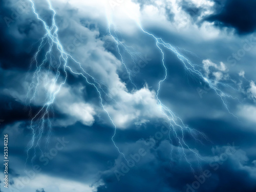 Poster Onweer dramatic stormy sky with clouds and lightning strikes