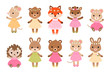 Cute dressed woodland animals in modern flat style. Vector.
