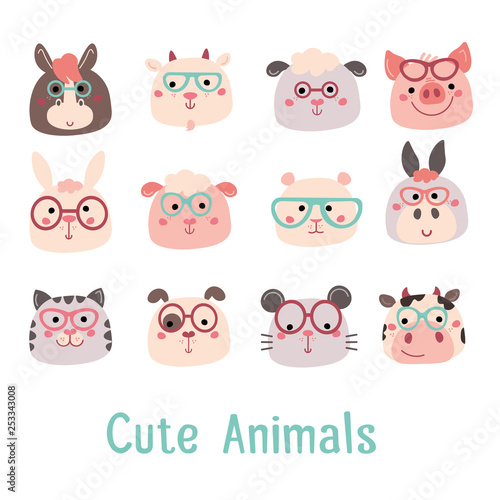 Vector Hand drawn characters: goat, pig, cow, sheep, cat, dog, mouse, rabbit, hamster, donkey Wallpaper Mural