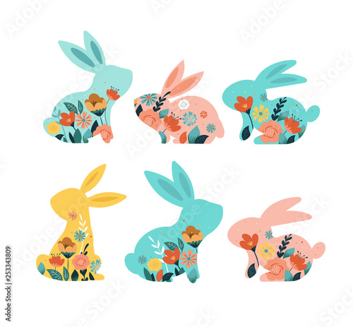 Keuken foto achterwand Hoogte schaal Happy Easter vector illustrations of bunnies, rabbits icons, decorated with flowers