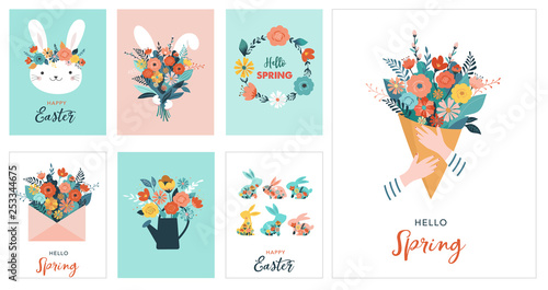 Cuadros en Lienzo Happy Easter vector illustration, greeting card, poster