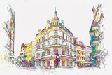 Watercolor sketch or illustration of a beautiful view of the traditional European urban architecture in Torun in Poland - 253346441