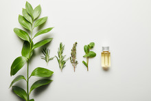 Top View Of Essential Oil And Green Herbs On White Background