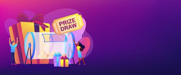 Prize draw concept banner header.