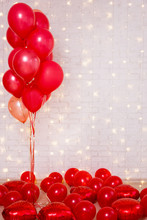 Valentine's Day Background - Red Balloons Over Brick Wall With Copy Space