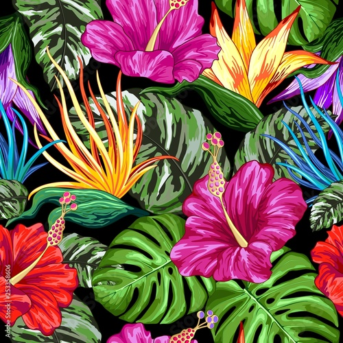Spoed Foto op Canvas Draw Tropical Flora Summer Mood Seamless Pattern Vector Textile Design