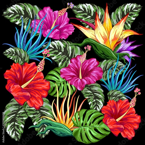 Spoed Foto op Canvas Draw Tropical Flora Summer Mood Pattern Vector Textile Design