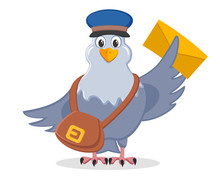 Carrier Pigeon In A Hat With A Bag And A Letter In The Wings On A White.