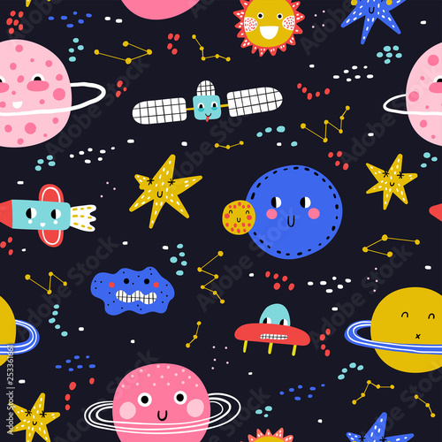 Fototapety, obrazy: Seamless pattern with cute planet, star and ufo. Vector illustration for children. Trendy kids vector background. Dark background,