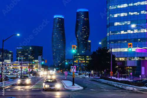 Mississauga, Canada, February 14, 2019: Twin towers of Absolute Condos in, these high-rise Mississauga condos were built in 2007 by Fernbrook Homes Canvas Print