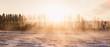 Sunrise winter fog field