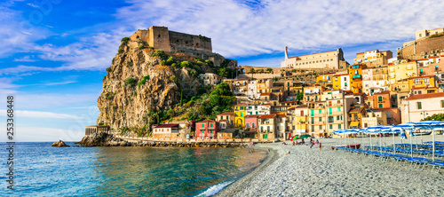Travel in Calabria, Scilla medieval town with great beach. South of Italy