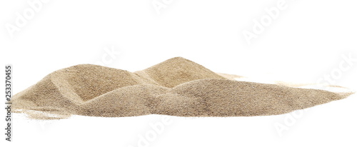 Fotografia  Pile desert sand dune isolated on white background, clipping path
