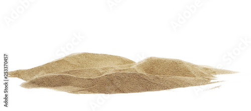 Fototapeta Pile desert sand dune isolated on white background, clipping path obraz