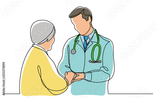 Fotografia continuous vector line drawing of doctor consulting senior patient