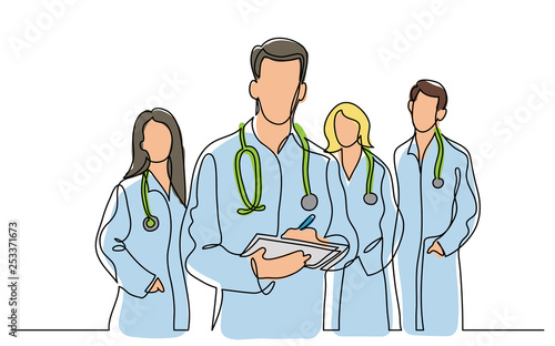 Obraz continuous vector line drawing of team of doctors - fototapety do salonu