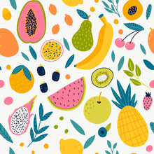 Seamless Pattern With Tangerine.