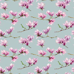 Fototapeta Do jadalni Watercolor magnolia flowers seamless pattern. Hand painted flowers and green leaves on branch isolated on pastel blue background. Floral illustration for design, print, fabric or background.
