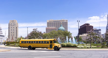 A School Bus In The Roundabout.