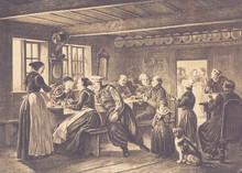 In An Inn On The Island Of Amak In Denmark. - Illustration, Copenhagen, Denmark, Germany, Oresund Region, 1870-1879