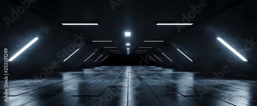 Fototapeta  Sci Fi Futuristic Alien Spaceship  Dark Empty Grunge Concrete Reflective Tiled F