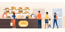 People Shopping In The Bakery
