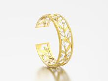 3D Illustration Isolated Yellow Gold Diamond Braclet