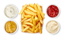 French Fries With Ketchup, Mayonnaise, Mustard, Garlic Sauce Top View Isolated On White Background