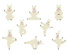 Collection Cartoon Funny Cute Llama Alpaca Practicing Yoga Position.