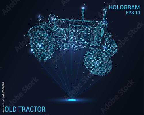 Stary hologram ciągnika. Tło cyfrowe i technologiczne ciągnika. Futurystyczny projekt ciągnika.