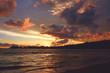 Beautiful colorful sunset over the Indian Ocean. Unawatuna beach, Sri Lanka