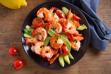 Shrimp, Avocado, Tomato And Cilantro Salad. Overhead, Horizontal