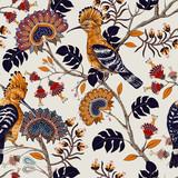 Wektorowy kolorowy wzór z ptakami i kwiatami. Dudki i kwiaty, w stylu retro, tło kwiatowy. Wiosna, lato kwiat projekt dla sieci, papieru pakowego, okładki, tekstyliów, tkanin, tapet - 253404499