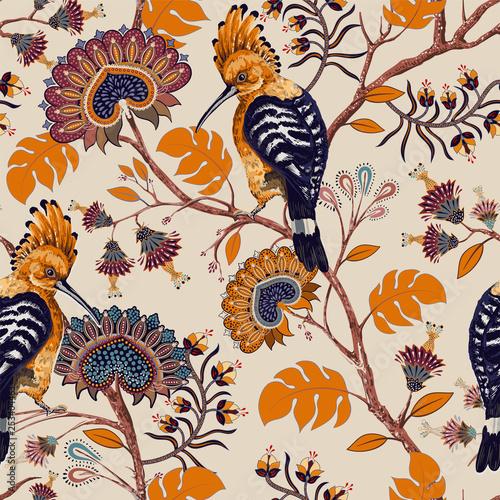 wektor-kolorowy-wzor-z-ptakami-i-kwiatami-dudki-i-kwiaty-styl-retro-kwiatowy-tlo-wiosna-lato-kwiatowe-projektowanie-stron-internetowych-papier-pakowy-okladka-tekstylia-tkanina-tapeta