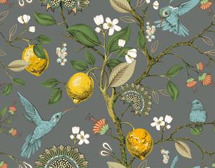 Floral vector seamless pattern. Botanical wallpaper. Plants, birds flowers ba...
